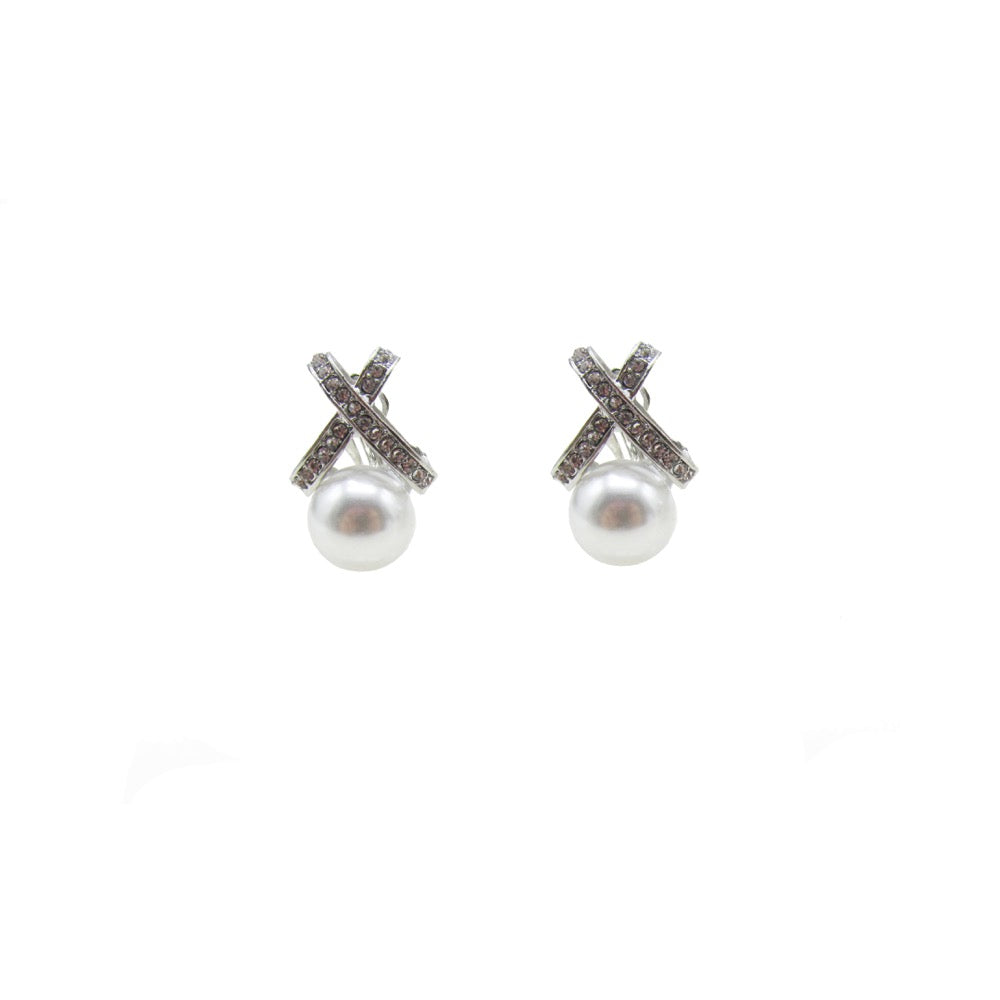 Pearl Diamante X Clip On Earring Silver