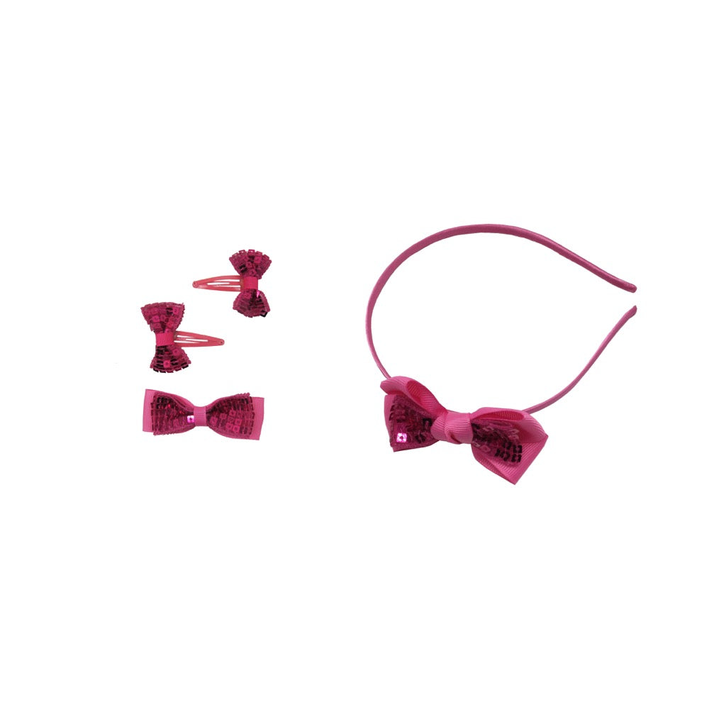 Sparkle Bow & Hairband 4pc Set  With Sequins