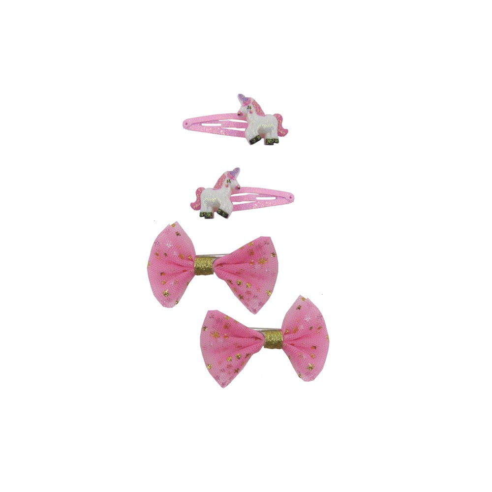 Sparkle 4Pk Unicorn Snap/Bow