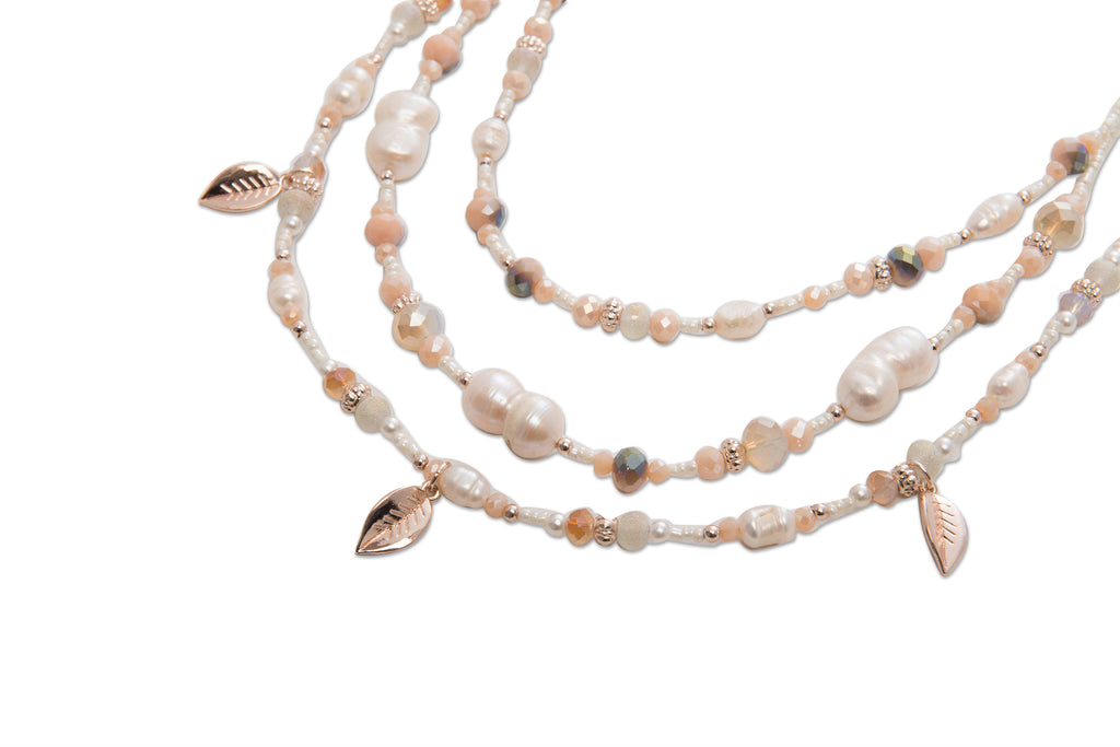 3 Row Pearl Leaf Necklace