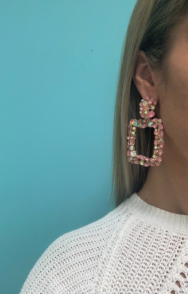 Statement Jewelled Earring Rose