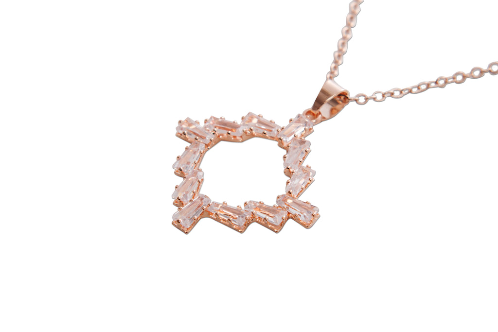 Cubic Zirconia Necklace Rose Gold