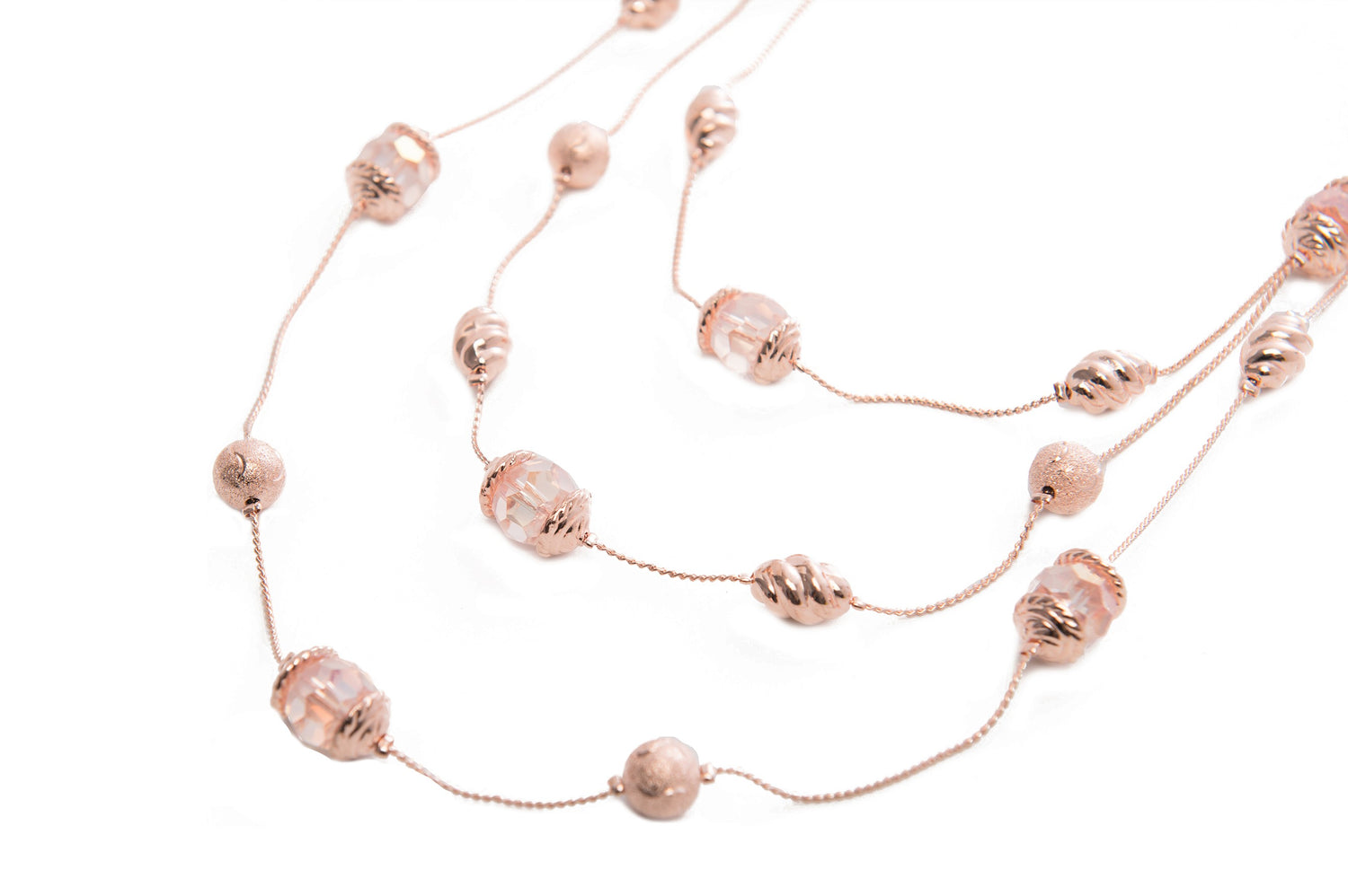 3 Row Necklace Rose Gold