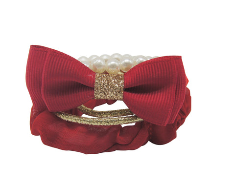 Sparkle Bow & Pearl Elastic Pack