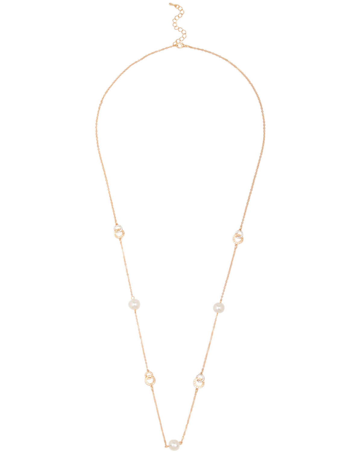 Long Pearl & Circle Link Necklace
