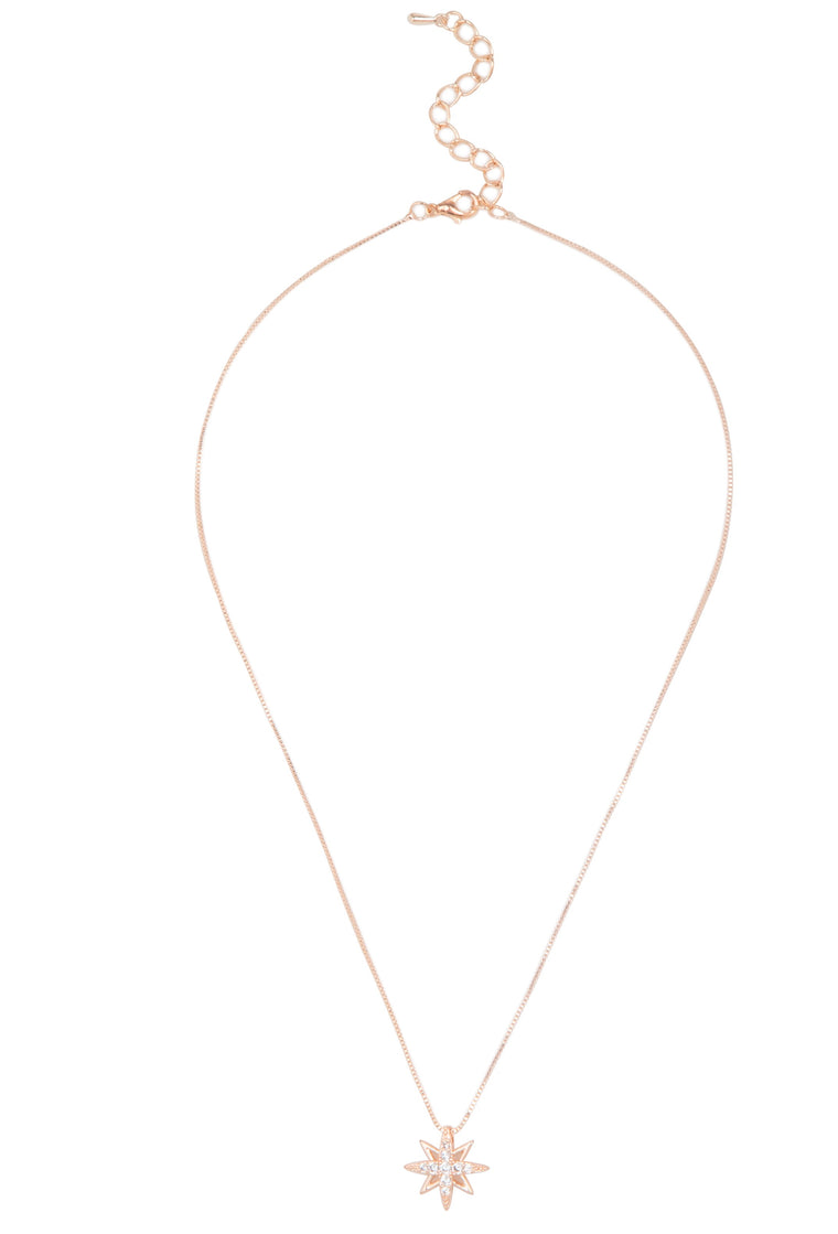 Cubic Zirconia Star Necklace Rose Gold