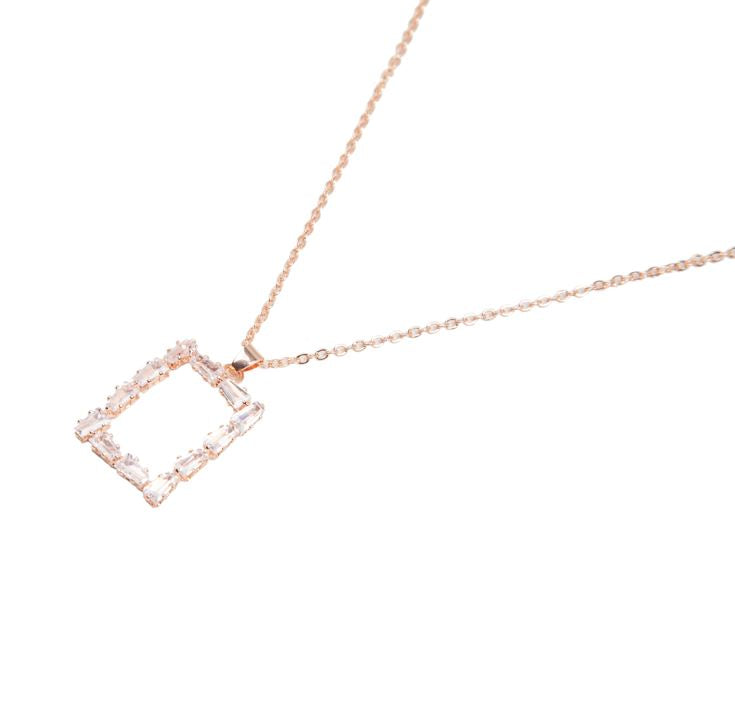Rectangle Pendant Necklace Rose Gold