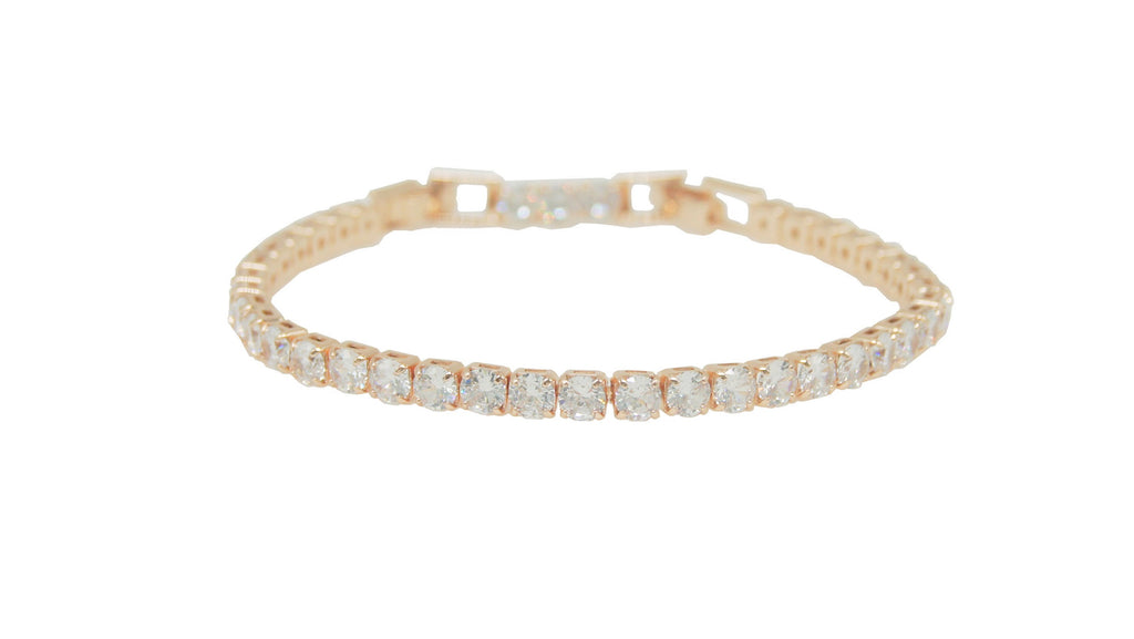 Crystal Tennis Bracelet Rose Gold