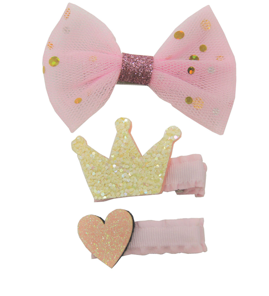 Sparkle 3pk Princess Bow Clip Set