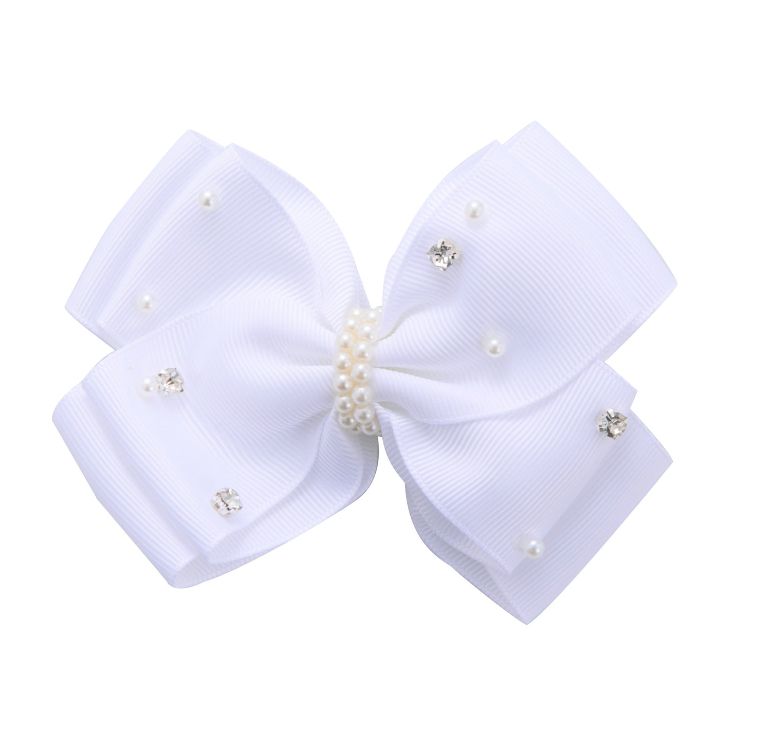 Sparkle Pearl Embellished Bow White