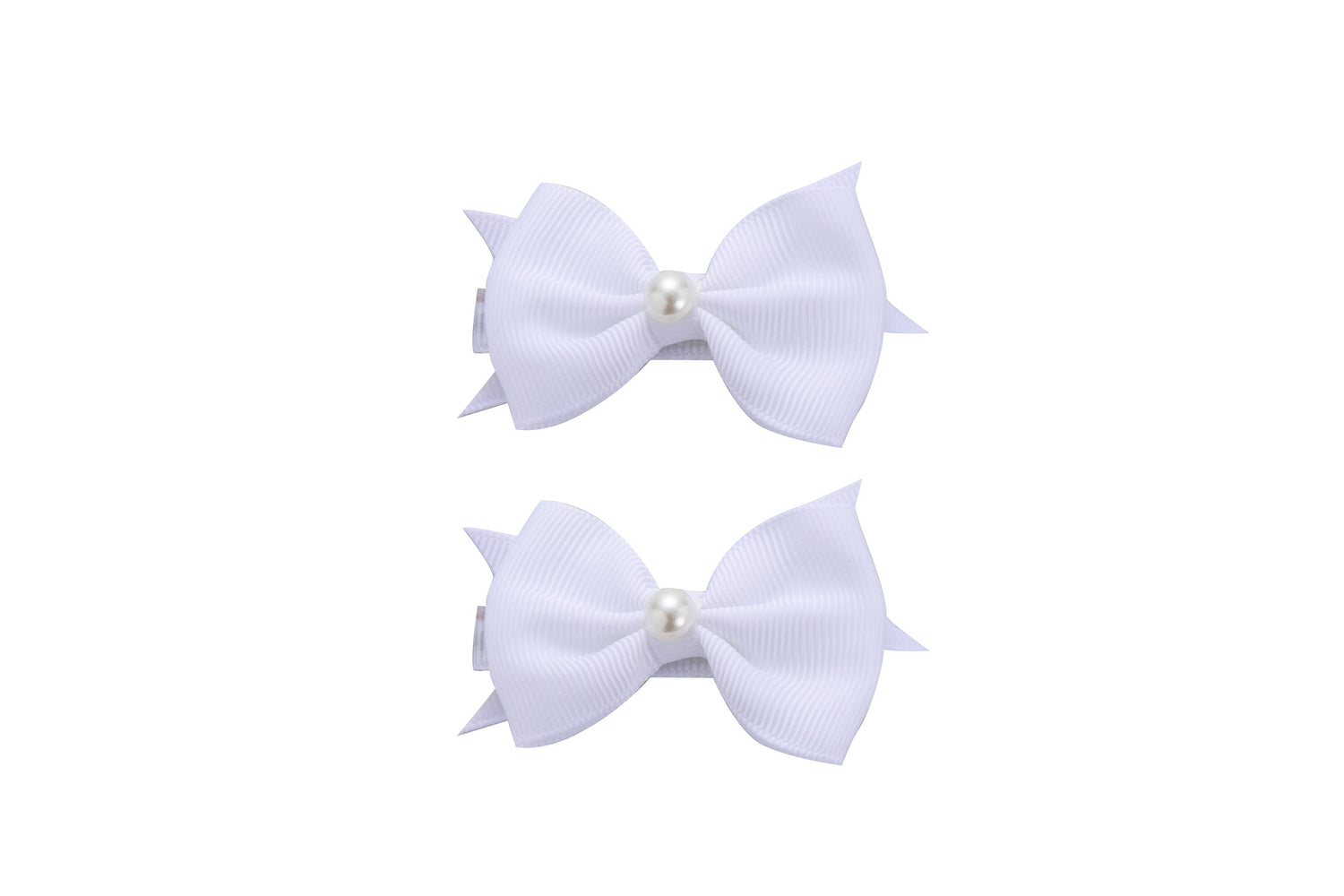 Sparkle 2pk Bow With Pearl White