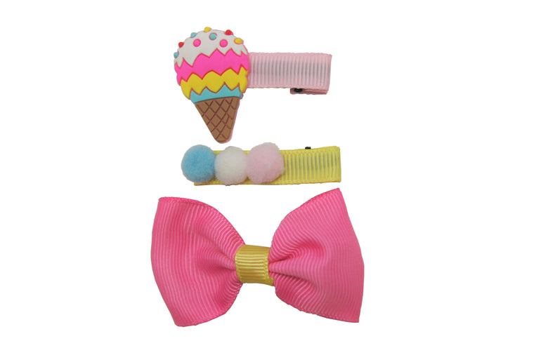 Sparkle 3pk Ice Cream Clip Set