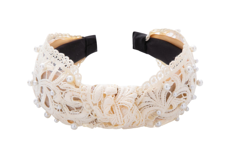 Pulse Professional Lace & Pearl Bow Knot Hairband Cream