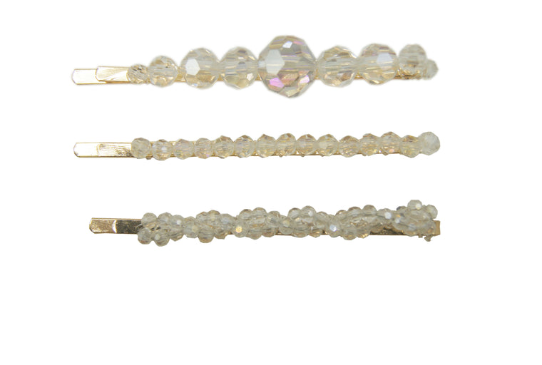 3pk Crystal Beads Hair Slides