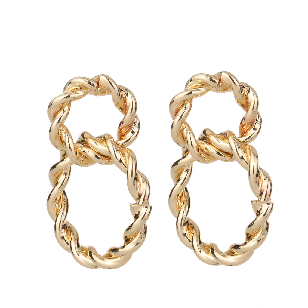 Twisted Linked Earring Gold