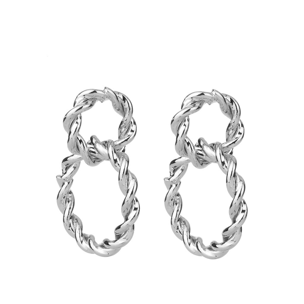 Twisted Linked Earring Silver