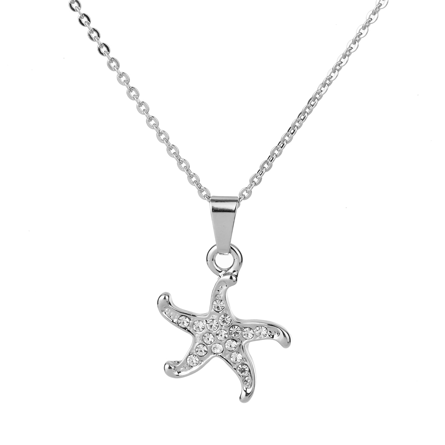 Starfish Pendant Necklace Silver