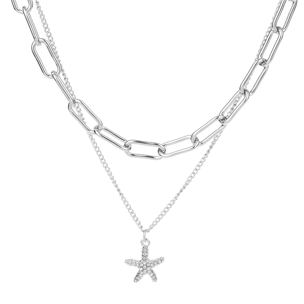 2 Row Starfish Necklace Silver