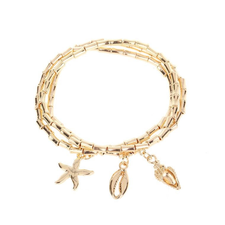 3pk Seaside Charm Bracelet Gold
