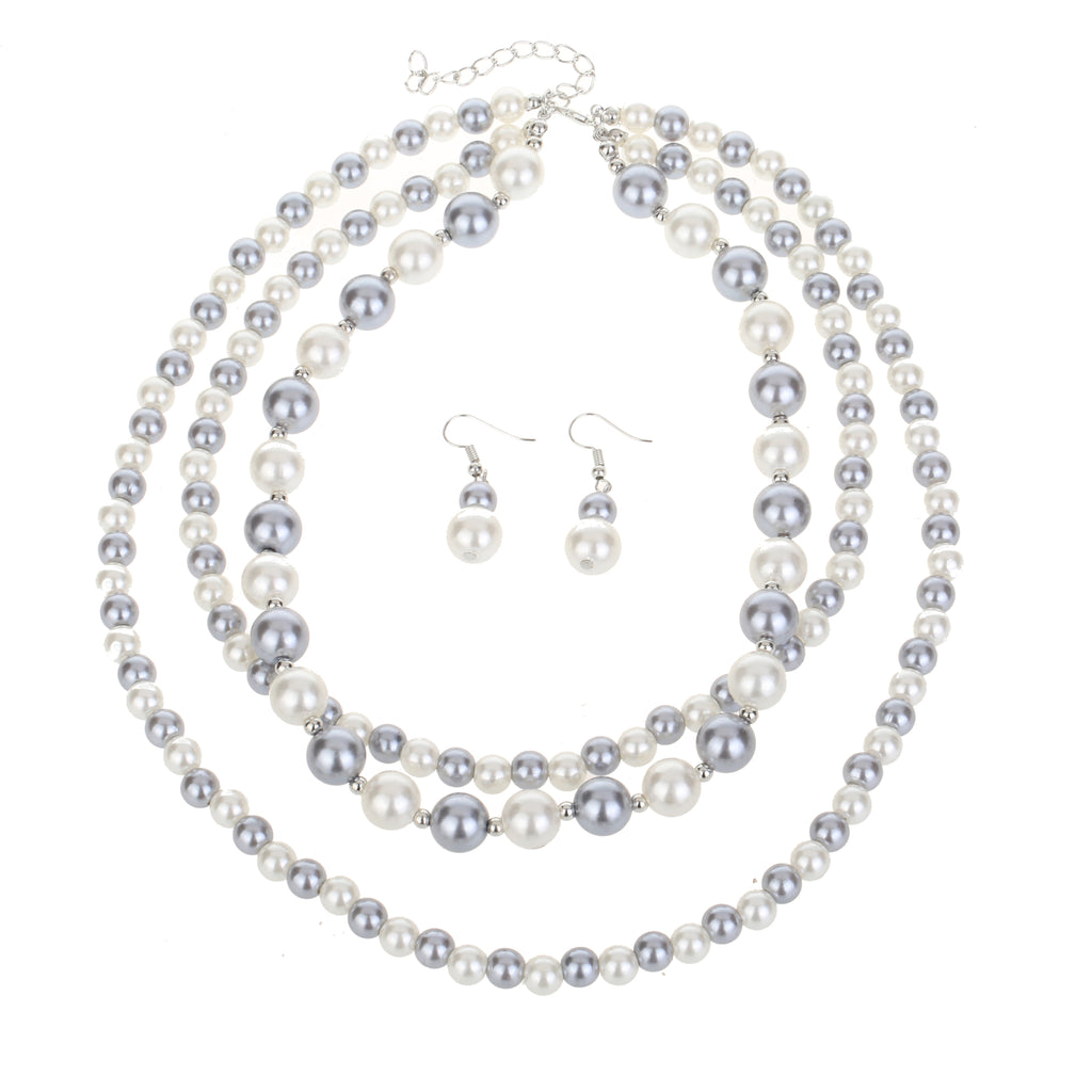 3 Row Pearl Necklace Set
