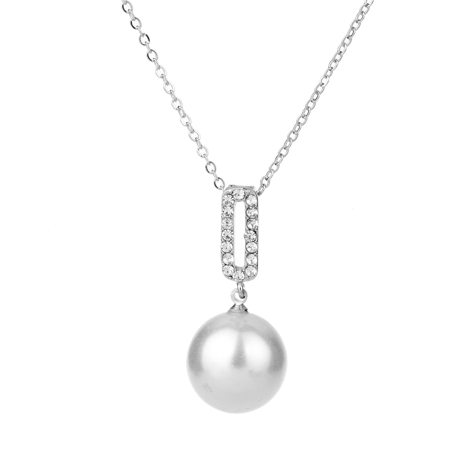 Pearl Pendant Necklace Silver