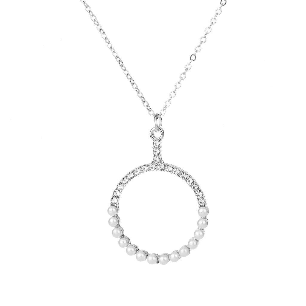 Diamante & Pearl Pendant Necklace Silver