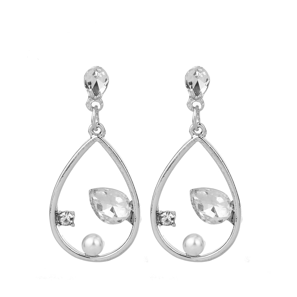 Pearl Tear Drop Earring Silver