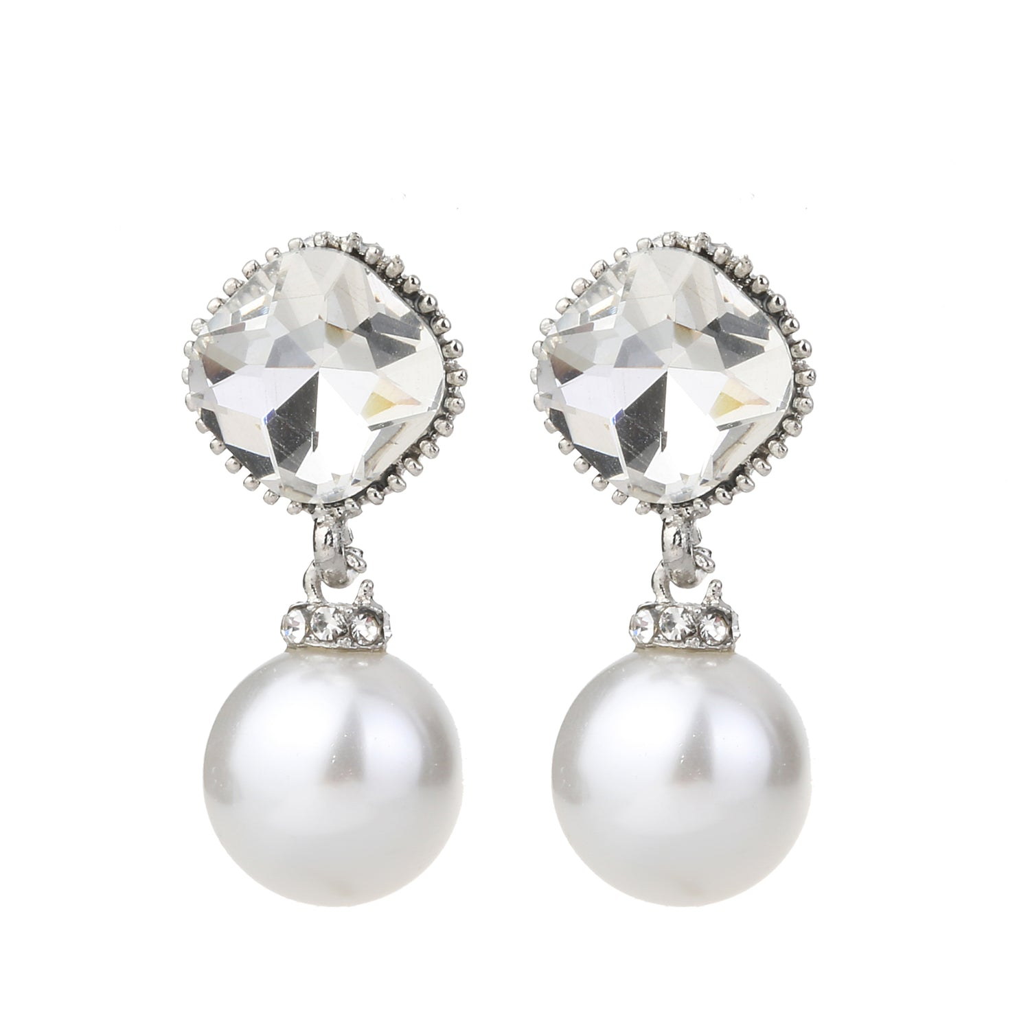 Pearl With Crystal Earring Silver