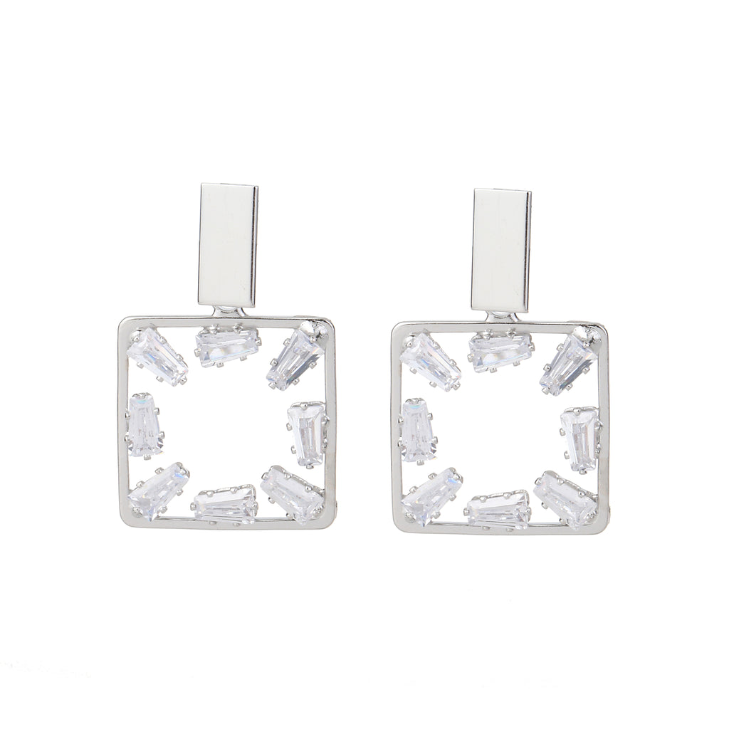 Cubic Zirconia Square Earring Silver