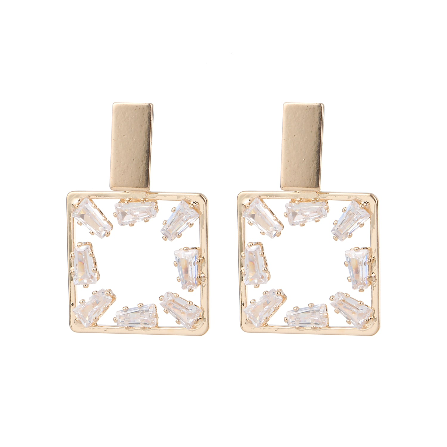 Cubic Zirconia Square Earring Gold