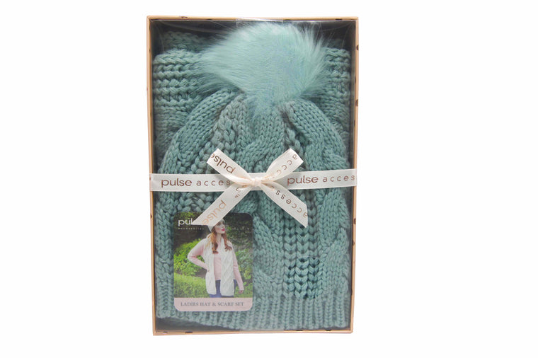 Pulse Gift Box Hat & Scarf Set Green