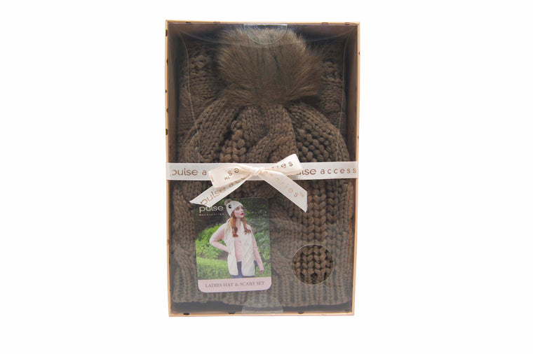 Pulse Gift Box Hat & Scarf Set Brown