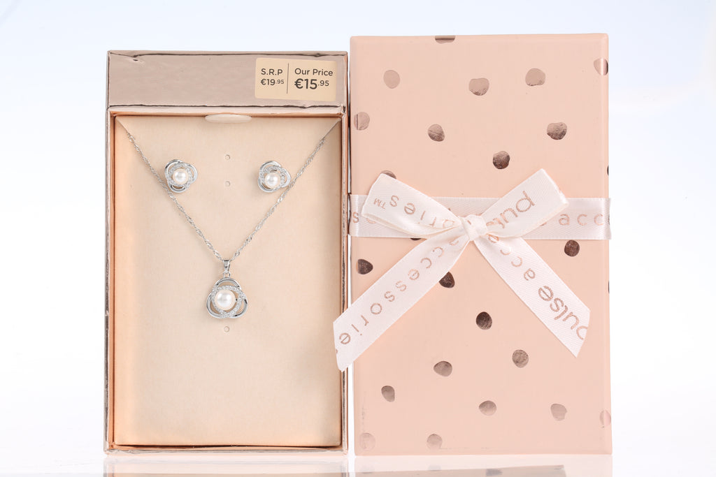 Pulse Gift Box Necklace & Earring Pearl Set Silver