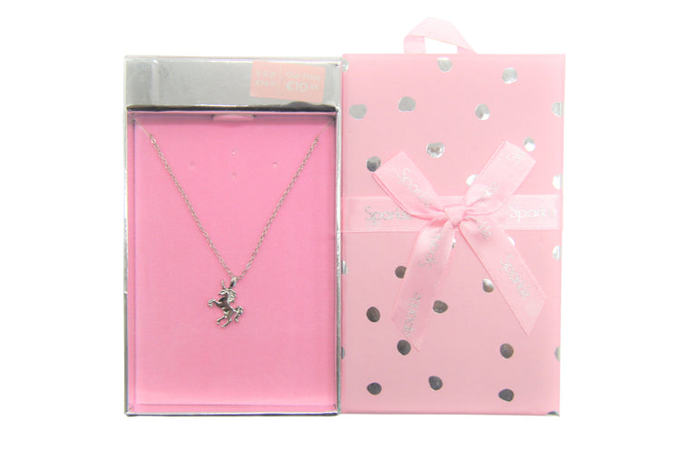 Sparkle Gift Box Unicorn Pendant Necklace