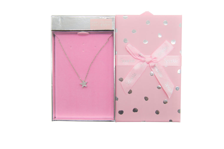 Sparkle Gift Box Star Necklace Silver
