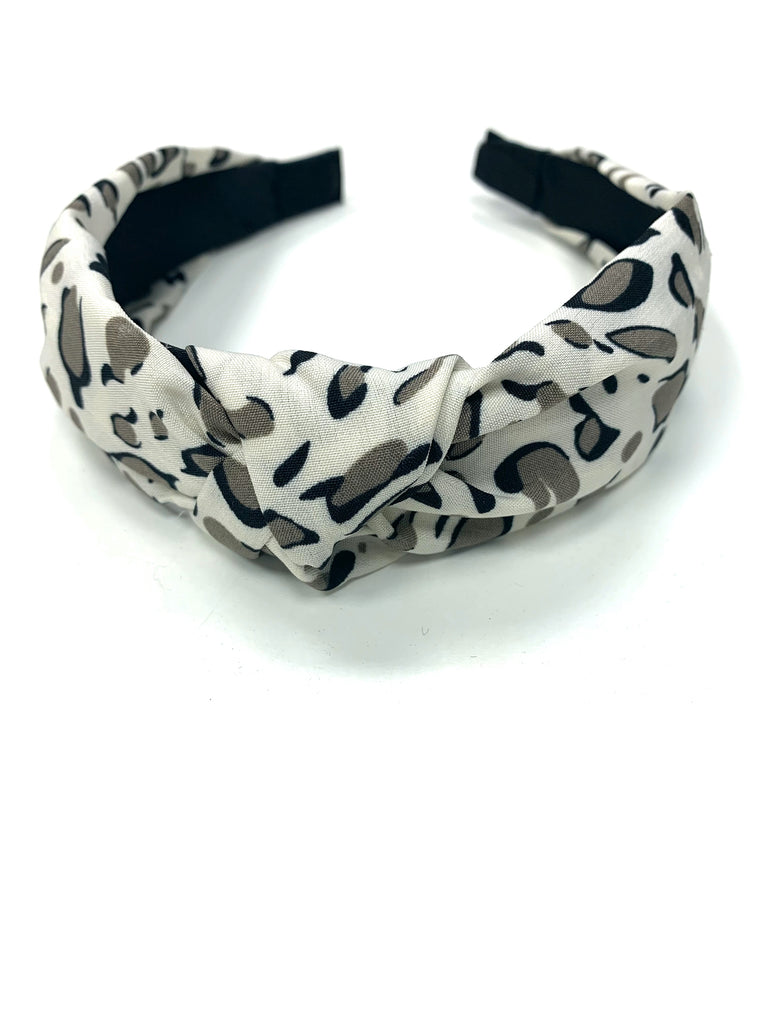 Pulse Professional Animal Print Knot Top Hairband Off White