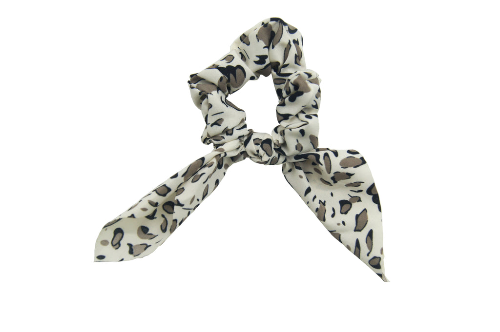 Pulse Professional Printed Tie Scrunchie Off White
