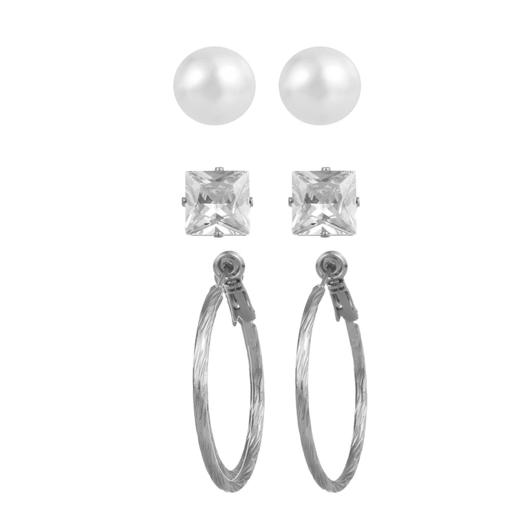 3pk stud & hoop mix earring