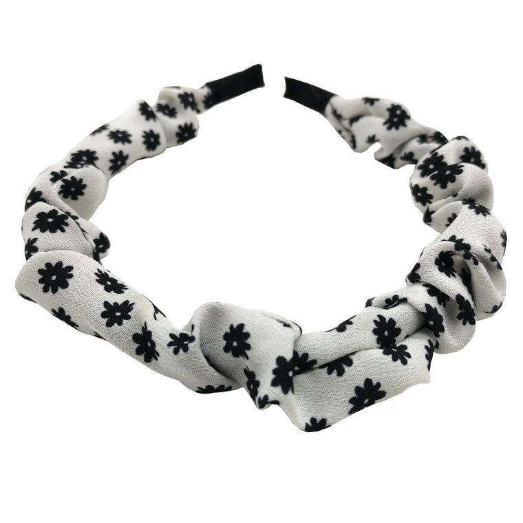 Pulse Professional Scrunched Hairband Floral White