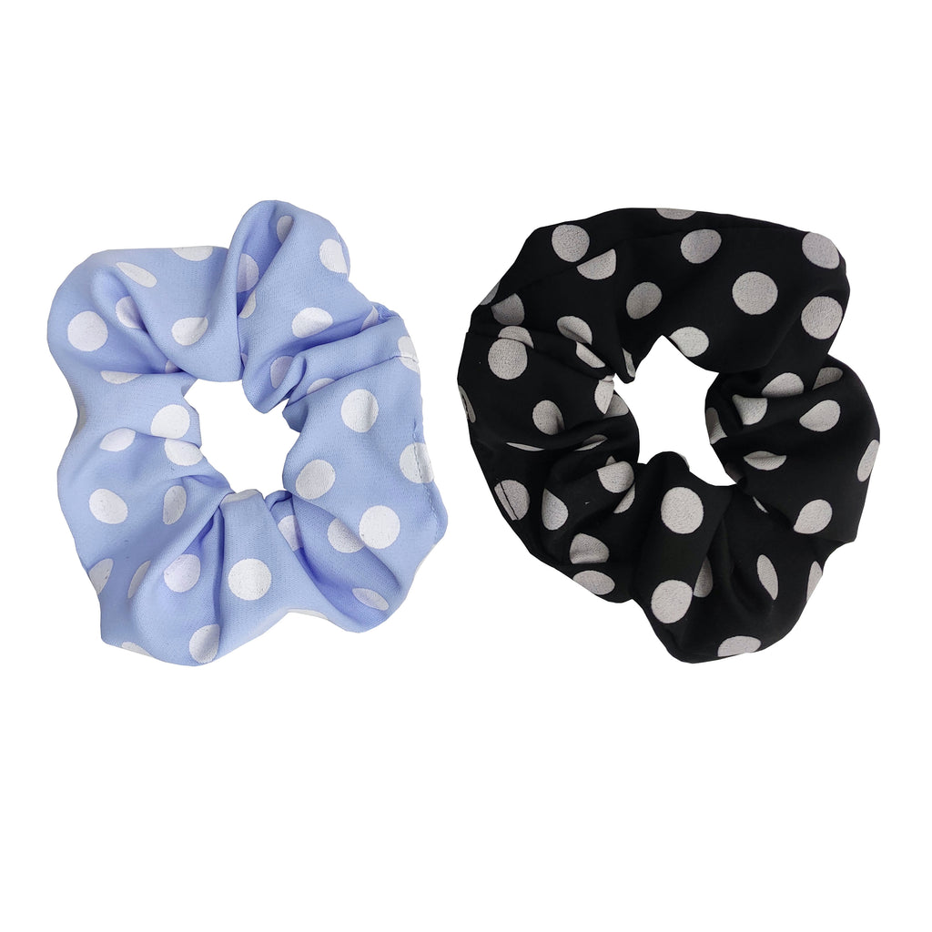 Pulse Professional 2pk Polka Dot Scrunchie Black&Blue