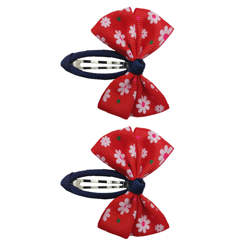 2pk Flower Bow Snap - Red