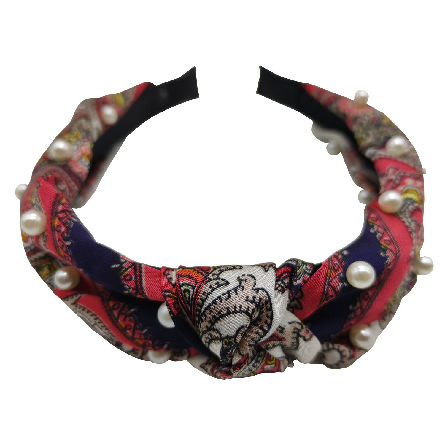 Pulse Professional Paisley Knot Top Hairband With Pearl - Red