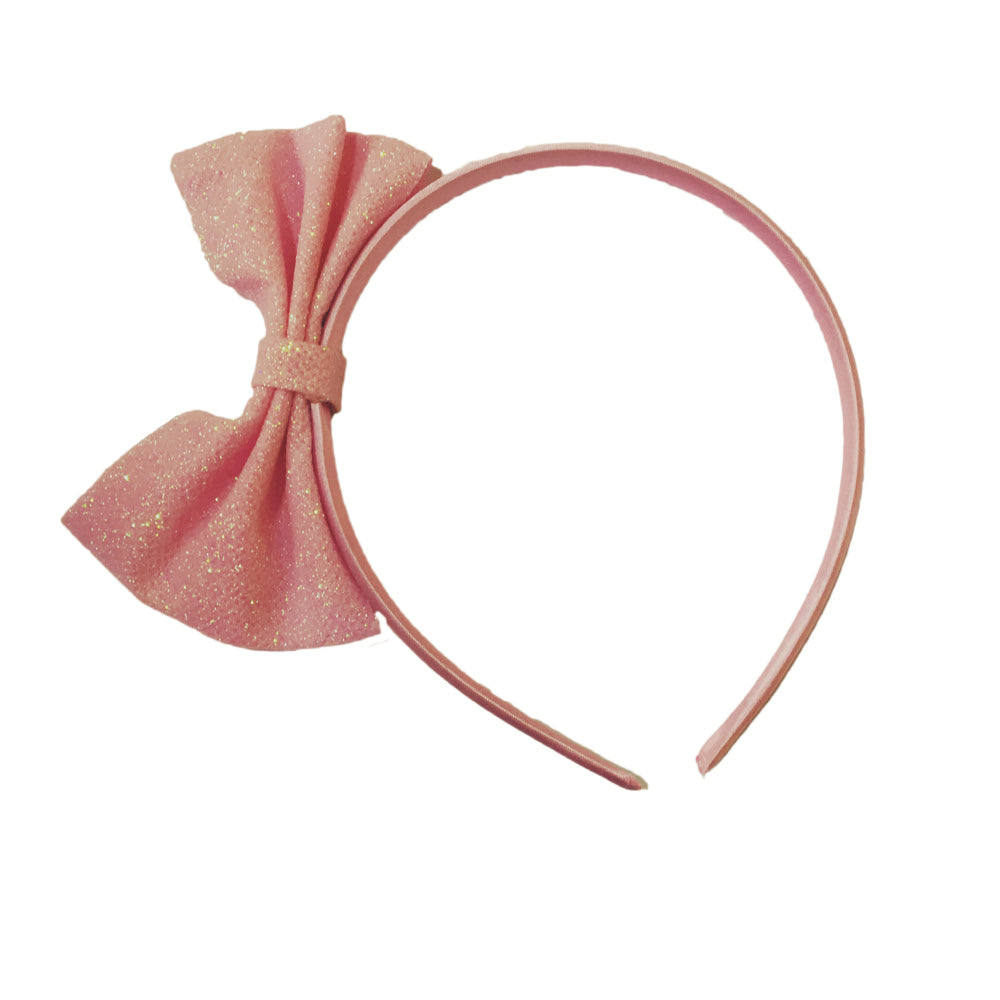 Glitter Bow Hairband Pink Mix