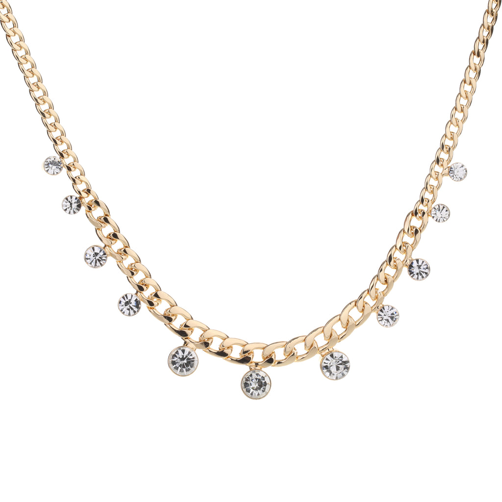 Crystal Chain Necklace Gold