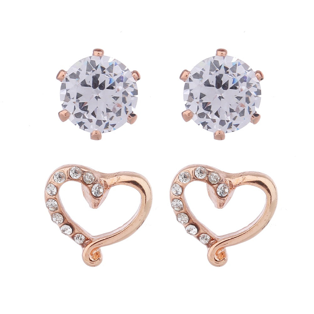 Delicate Ears 2pk Heart & Cubic Zirconia Earring Rose Gold Plating