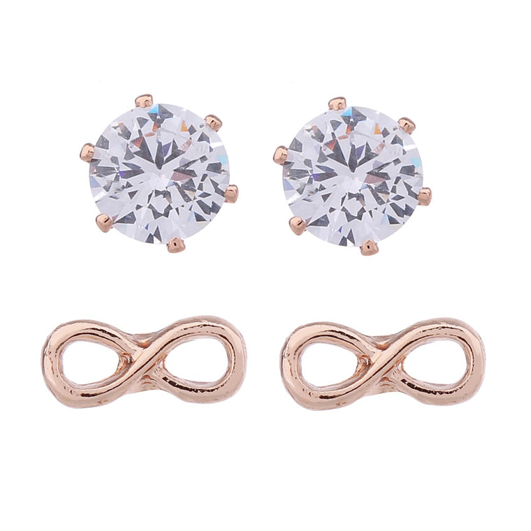 Delicate Ears 2pk Infinity & Cubic Zirconia Earring Rose Gold Plating