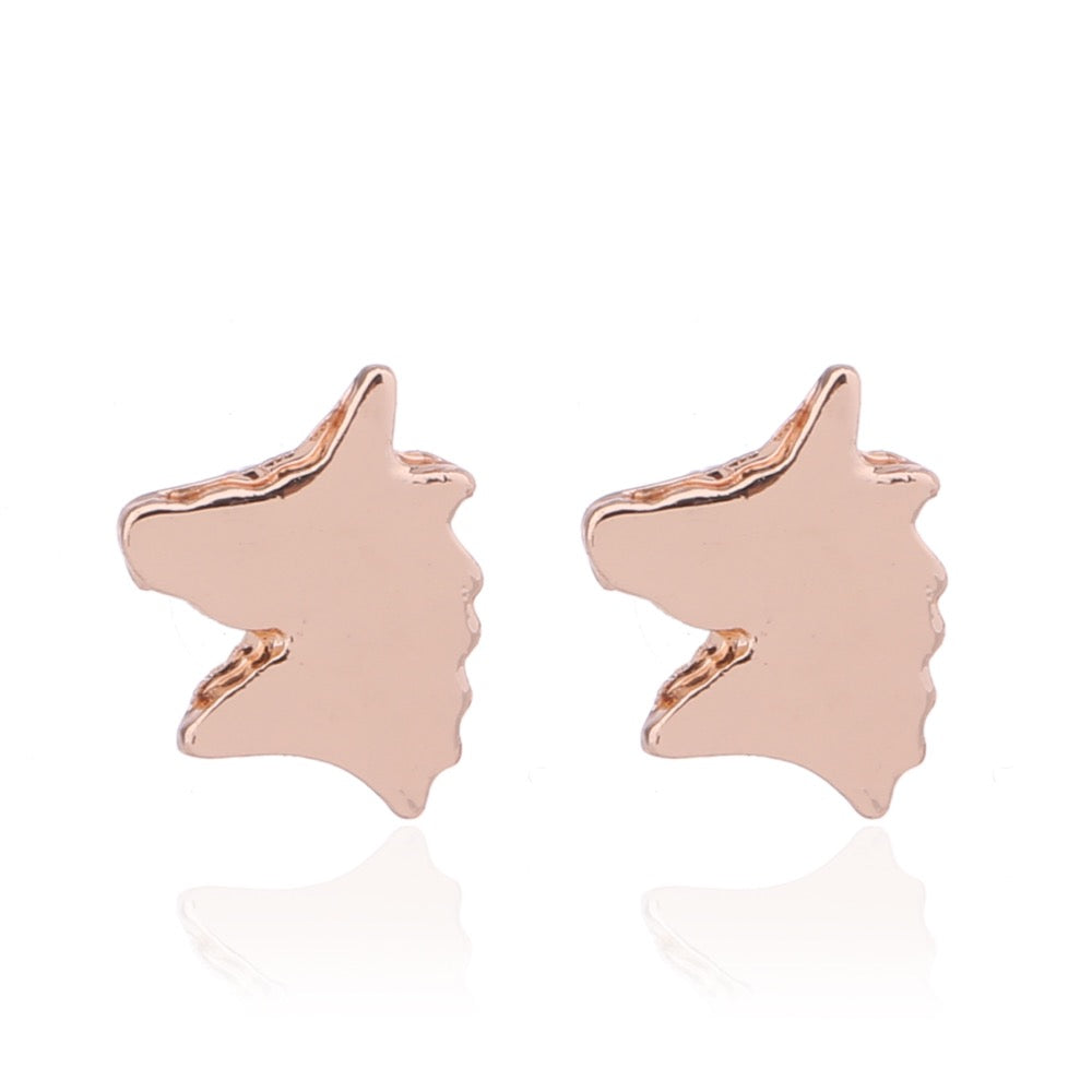 Delicate Ears Unicorn Earring Rose Gold Plating