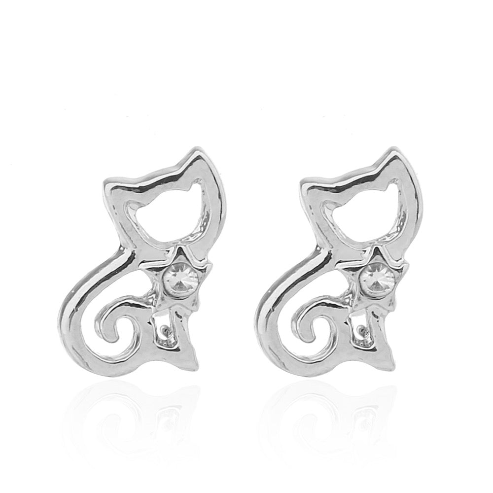 Delicate Ears Cat Earring Silver Plating