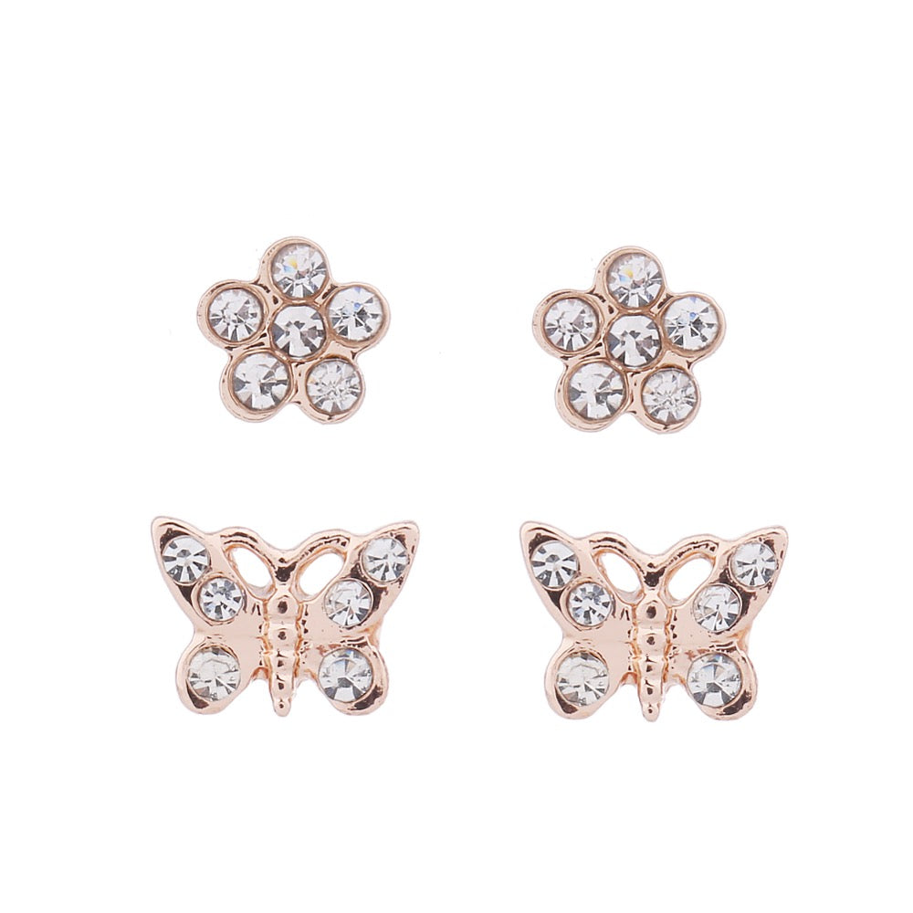 Delicate Ears 2pk Butterfly Flower Earring Rose Gold Plating