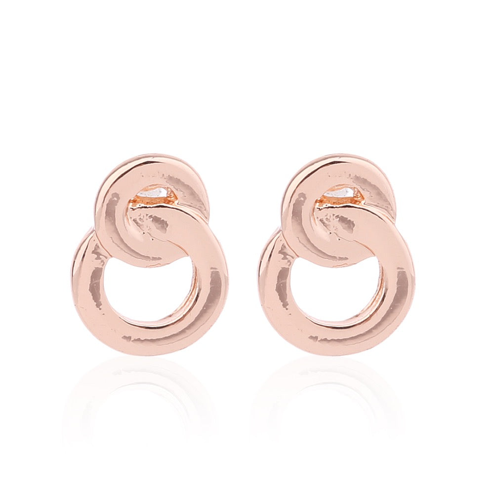 Delicate Ears Linked Circle Earring Rose Gold Plating
